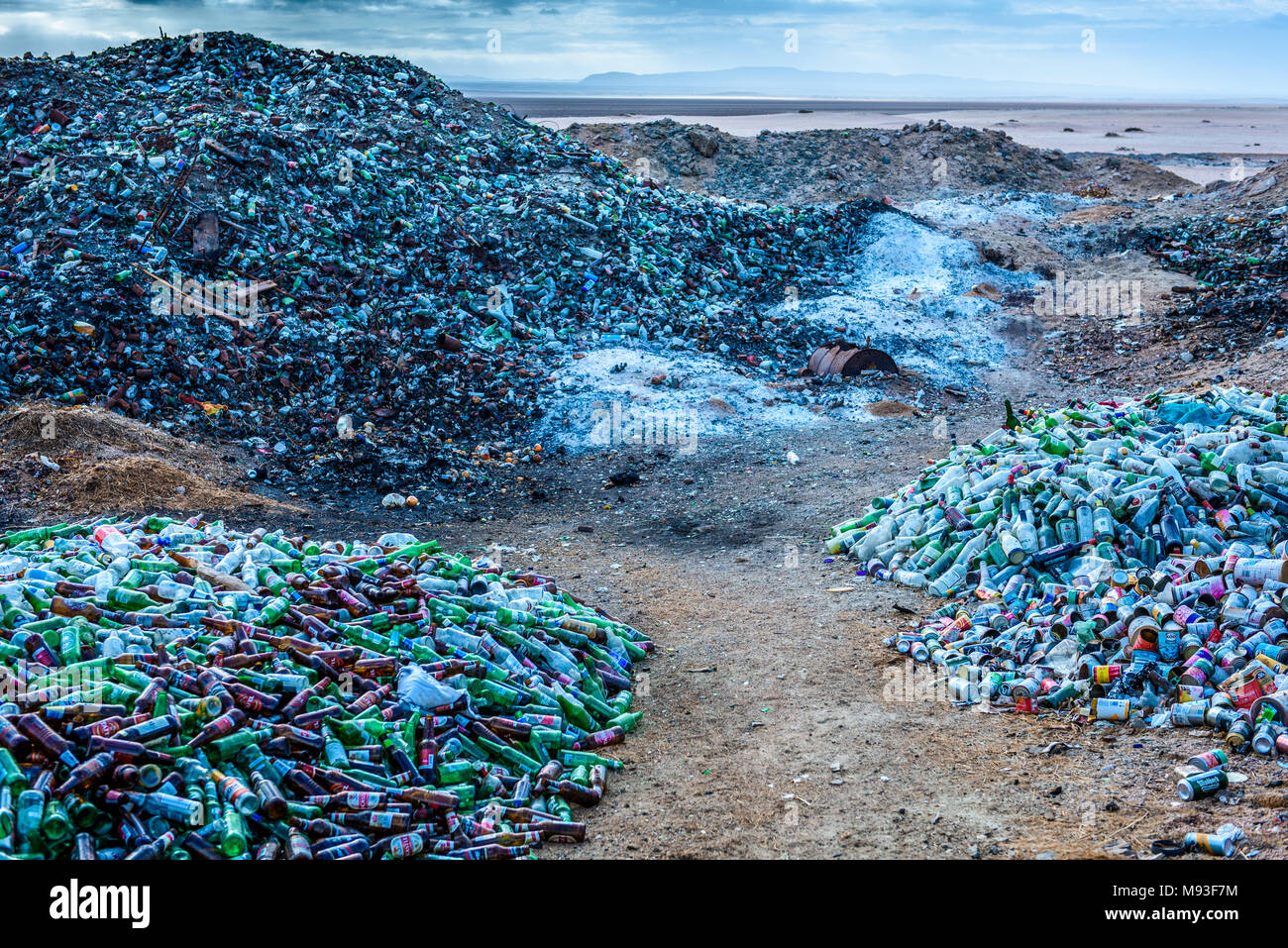 Waste separated for recycling at St Nowhere on Namibia's Skeleton Coast - Stock Image