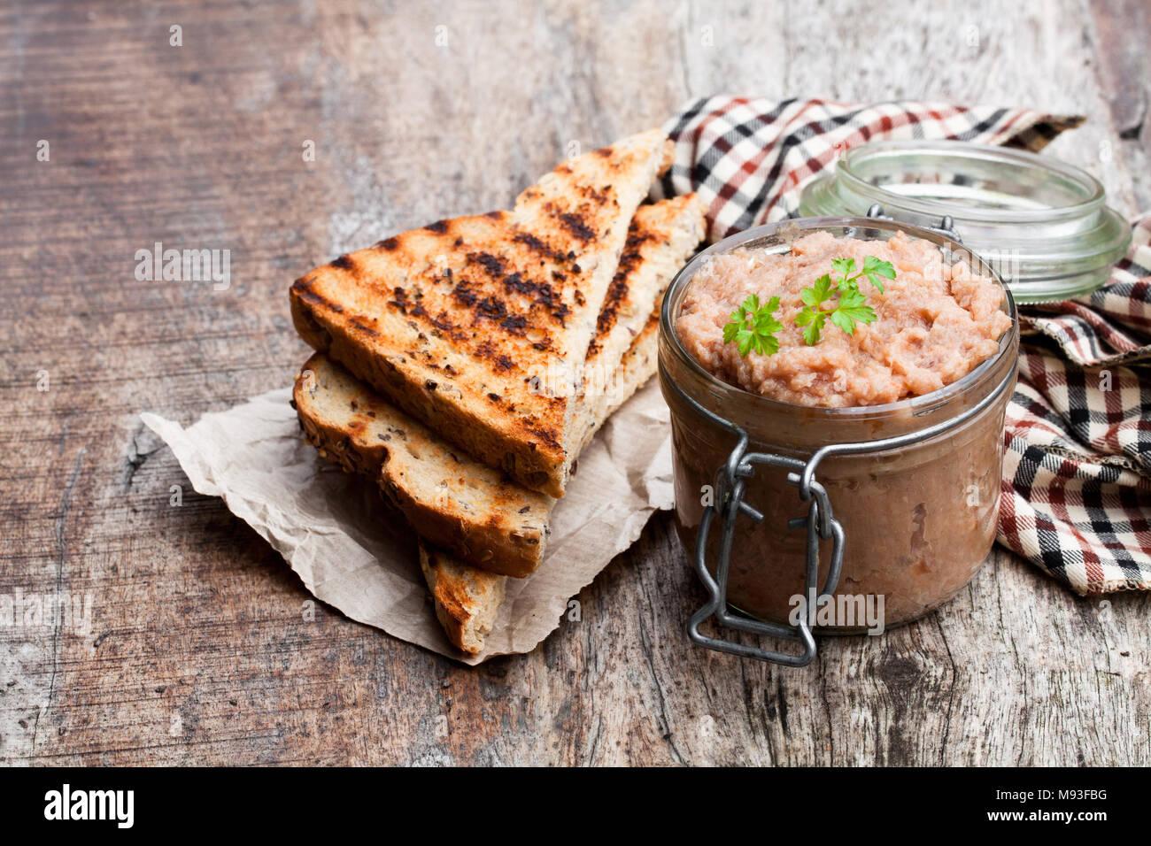 Forshmak  paste from mackerel on wooden table Stock Photo