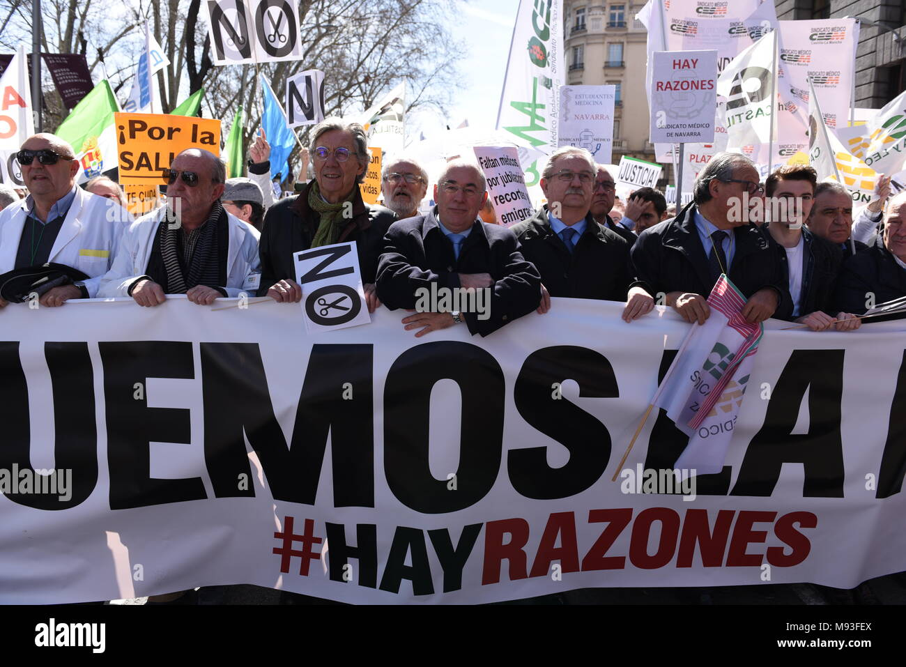 Madrid, Spain. 21st Mar, 2018. People take part in a protest by Spanish doctor's unions against cuts in the Public Health system in Madrid. Credit: Jorge Sanz/Pacific Press/Alamy Live News - Stock Image