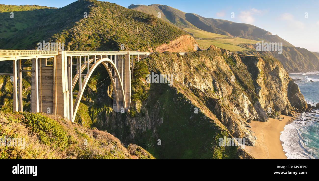 Famous Bixby Creek Bridge - Big Sur, California - Stock Image