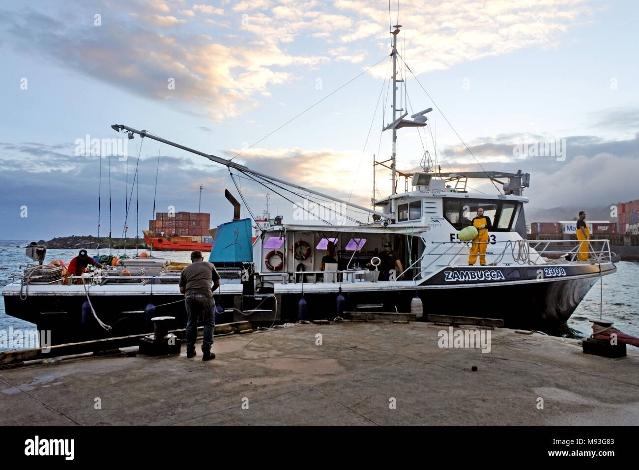 Fishing trawling boat arrives at Ports of Avatiu Rarotonga. Cook Islands exclusive economic zone territorial waters stretches - Stock Image