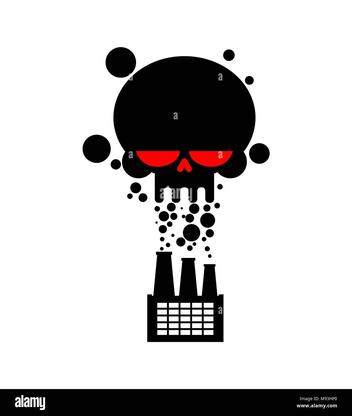 Black Smoke skull plant. works is poisoning air. Environmental pollution. Factory and poisonous gas. death of all living thing. Ecological catastrophy - Stock Image
