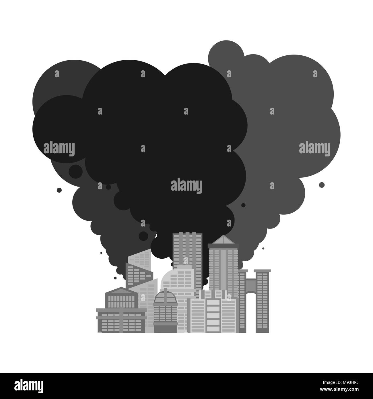 Exhaust gases from city. Environmental pollution. Factory and poisonous gas.  death of all living things. Ecological catastrophy - Stock Image