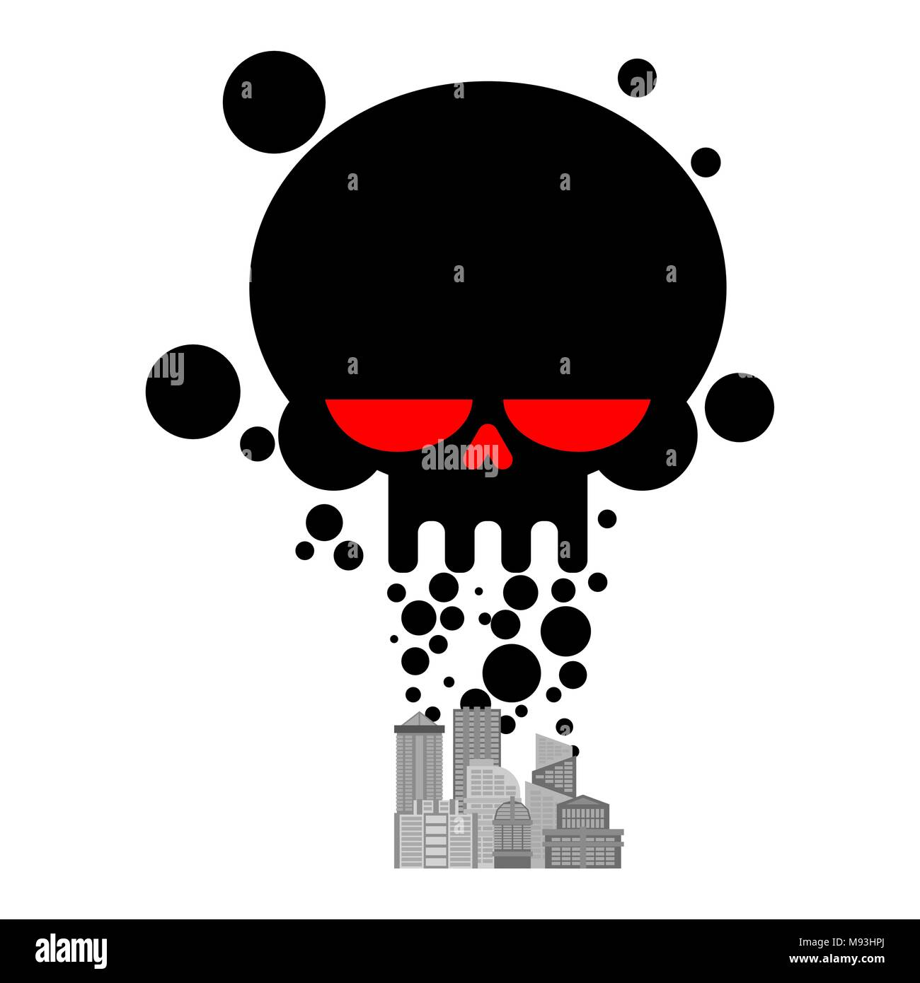 Exhaust gases from city. Black Smoke skull. Environmental pollution. Factory and poisonous gas.  death of all living things. Ecological catastrophy - Stock Image
