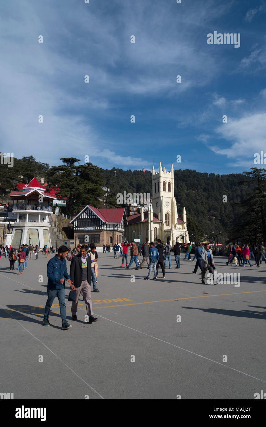 Most famous Ancient Shimla church architecture yellow building and tourist place in Himachal Pradesh, India, Asia - Stock Image