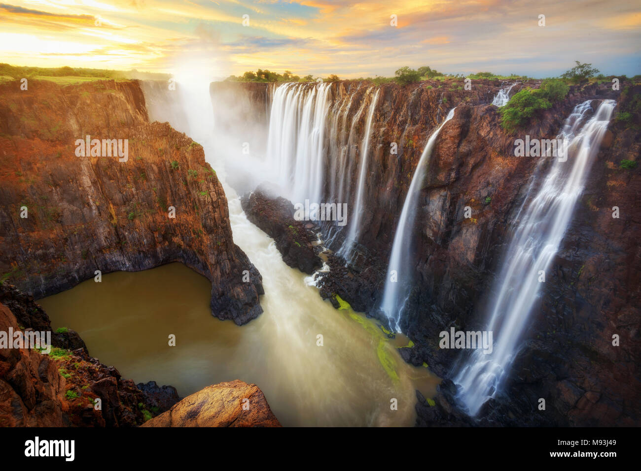 Victoria Falls in Zambia and Zimbabwe taken in 2015 - Stock Image