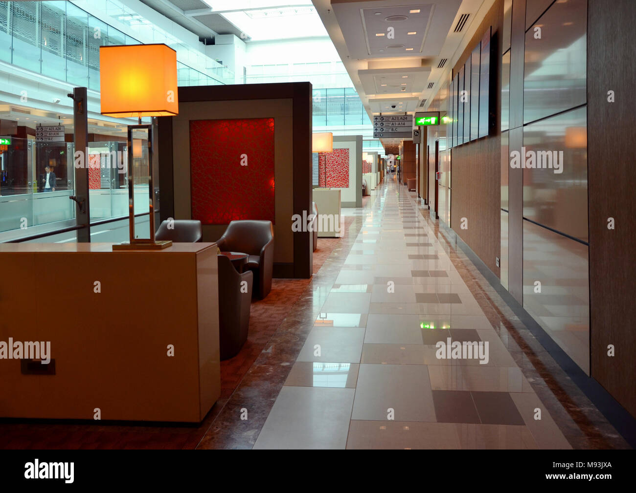 Dubai Airport, UAE - September 22, 2017: Luxury seating areas in Emirates Business Class Lounge - Stock Image