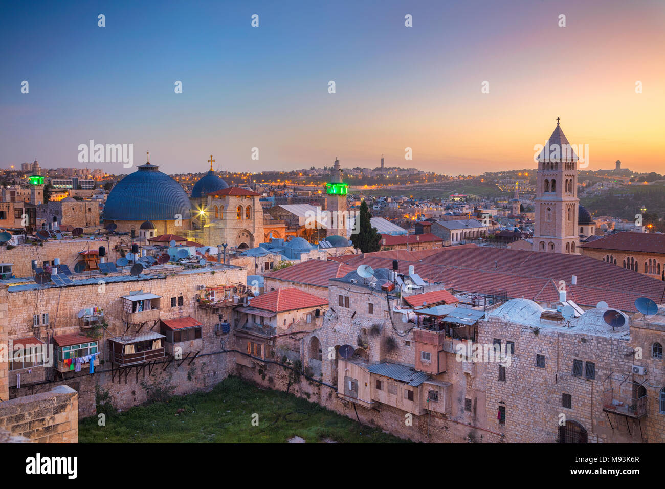 Jerusalem. Cityscape image of old town of Jerusalem, Israel at sunrise. - Stock Image