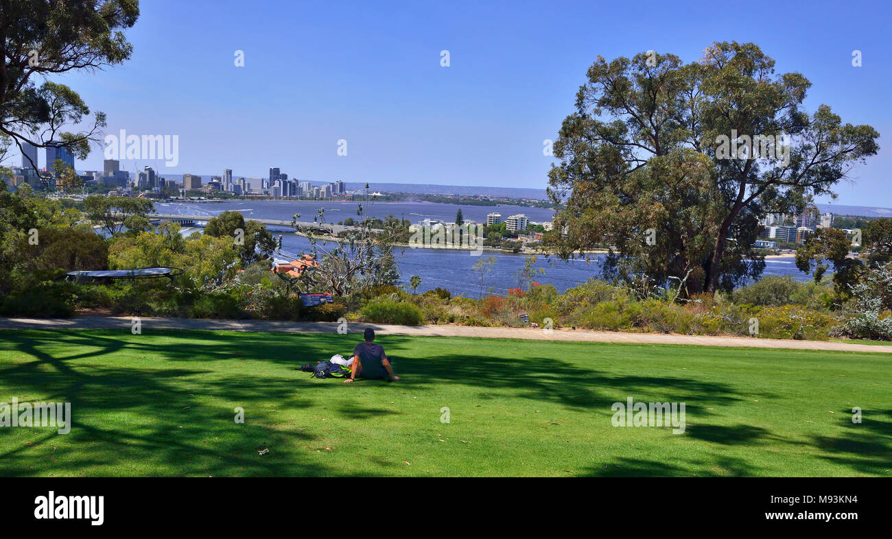 Over looking the vibrant city of Perth and the Swan river from Kings Park & Botanic Garden Western Australia - Stock Image