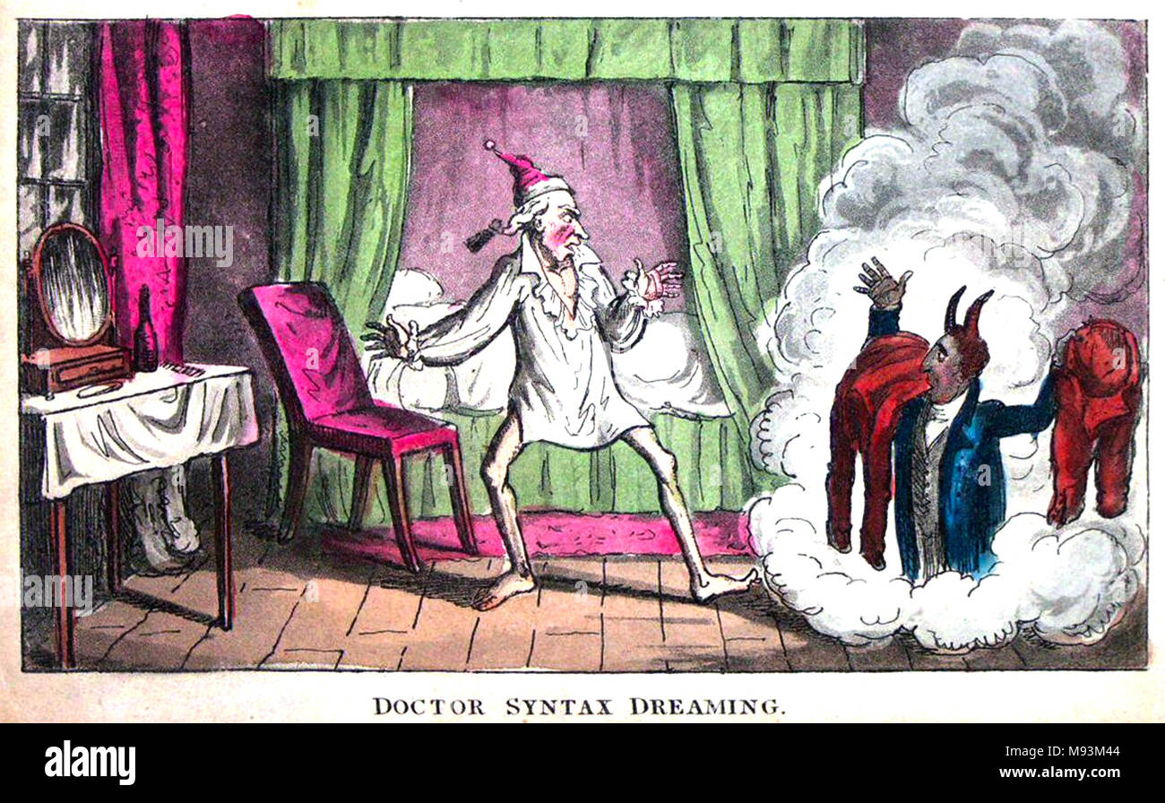 DOCTOR SYNTAX DREAMING  Acquatint by Isaac Cruikshank about 1820 - Stock Image