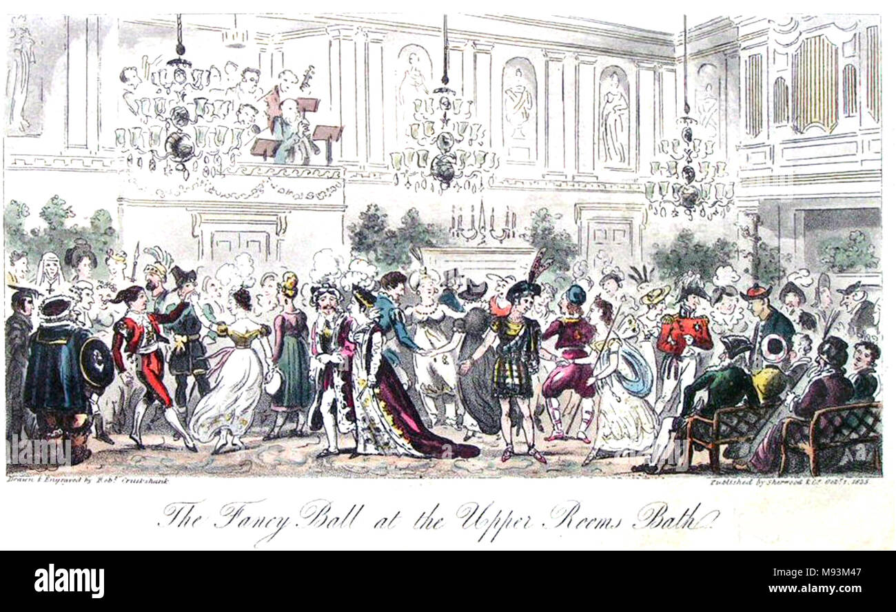 THE FANCY BALL AT THE UPPER ROOMS, BATH  An 1825 acquatint by Isaac Cruikshank from Blackmantle's The English Spy - Stock Image