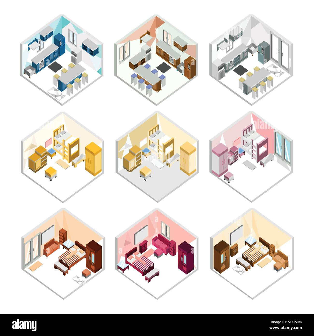 Various Design Of Isometric Home Interior Vector Illustration Graphic Set Stock Vector Image Art Alamy