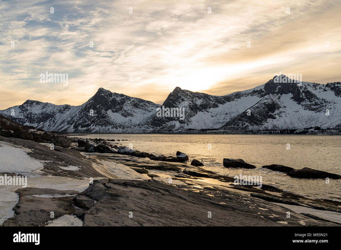 Winter scenery of Senja in Norway - Stock Image