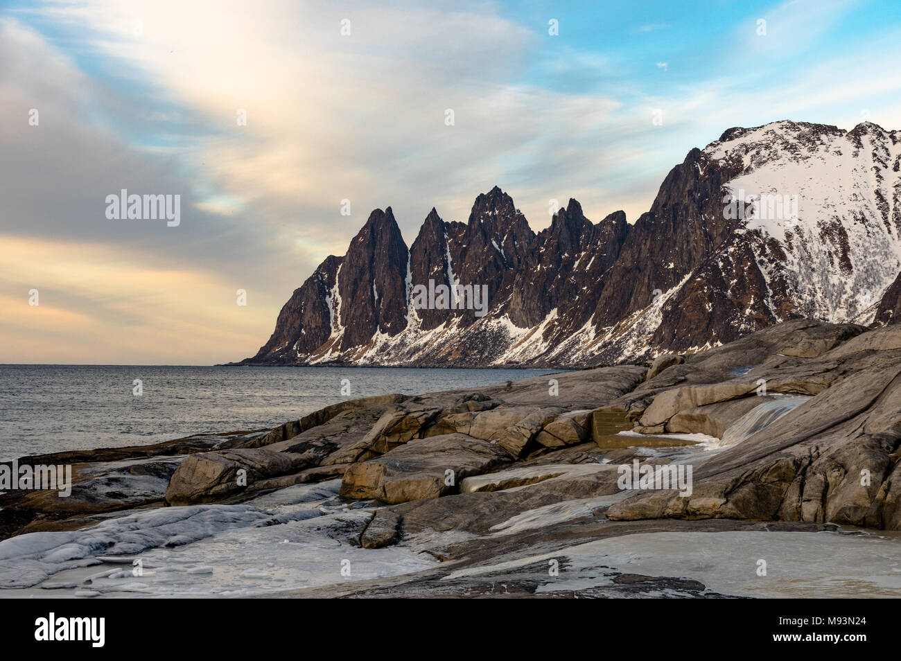 Winter scenery of Senja in Norway Stock Photo