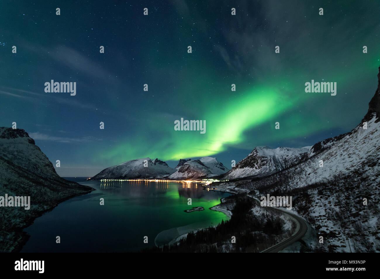 Northern Lights in Senja, Norway - Stock Image