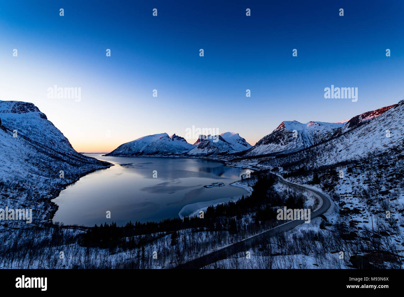 Winter scenery of Senja in Norway - Stock Image