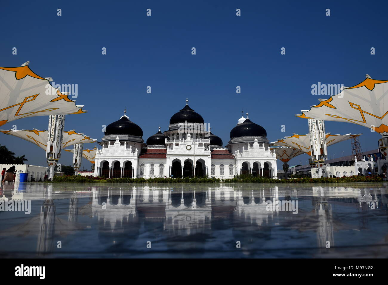 Baiturrahman Grand Mosque is located in the heart of Banda Aceh City. Indonesia Stock Photo