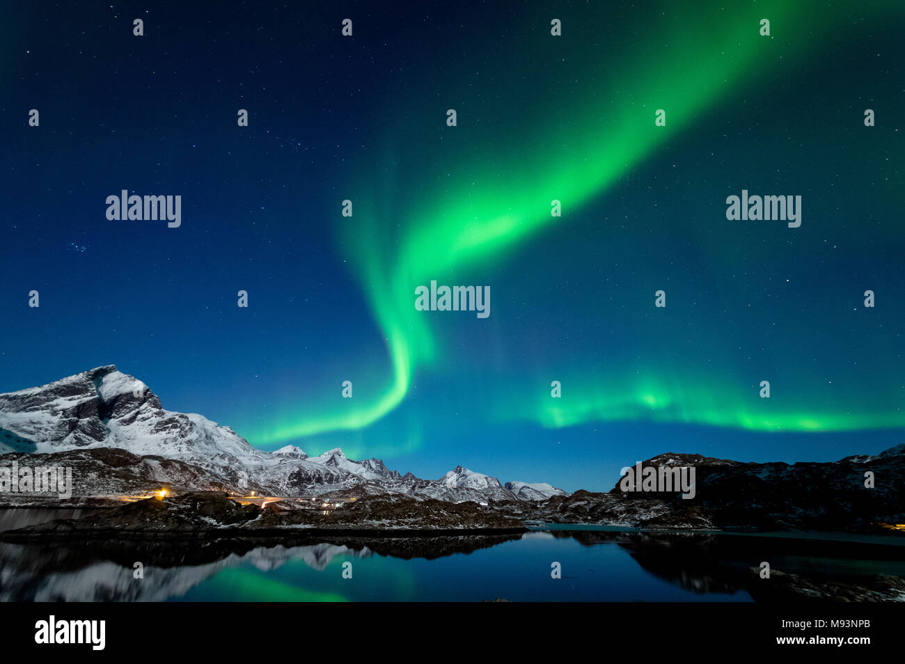 Northern Lights in Lofoten, Norway - Stock Image