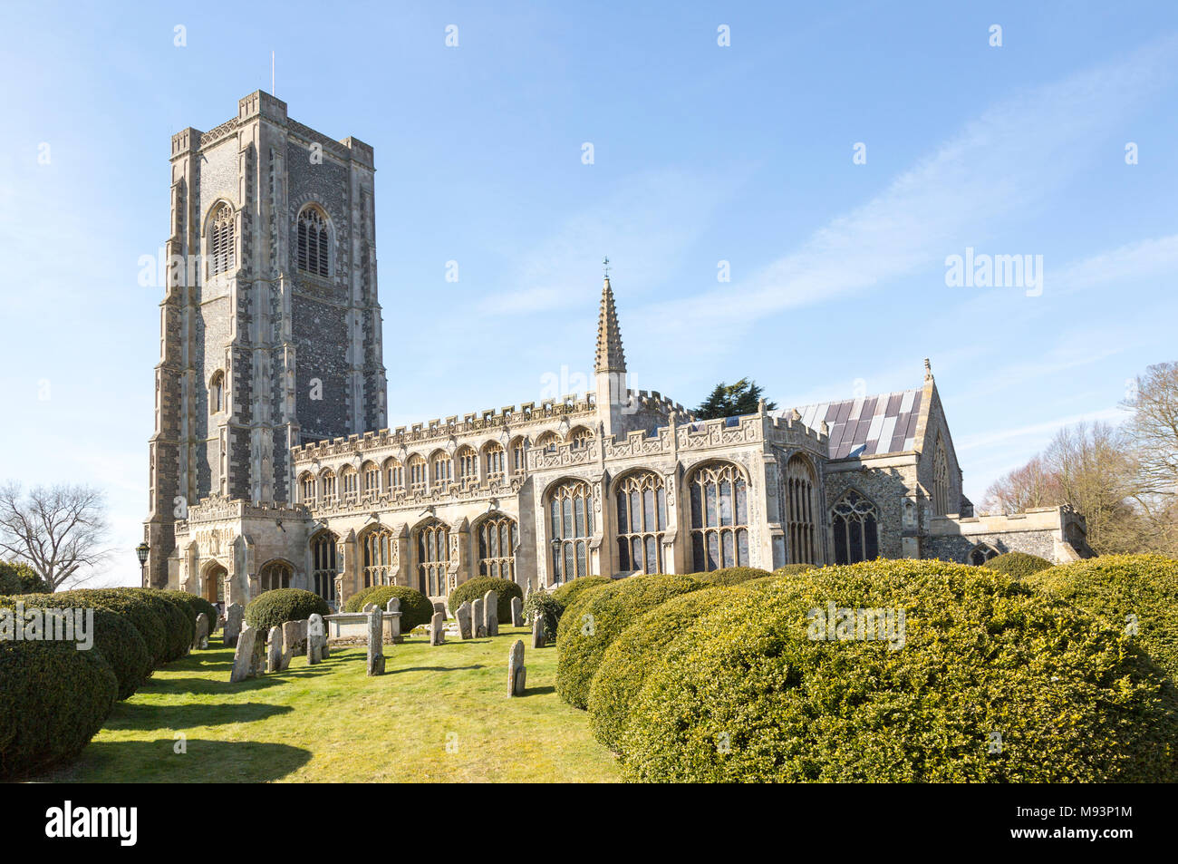 Historic village parish church of Saint Peter and Saint Paul, Lavenham, Suffolk, England, UK - Stock Image