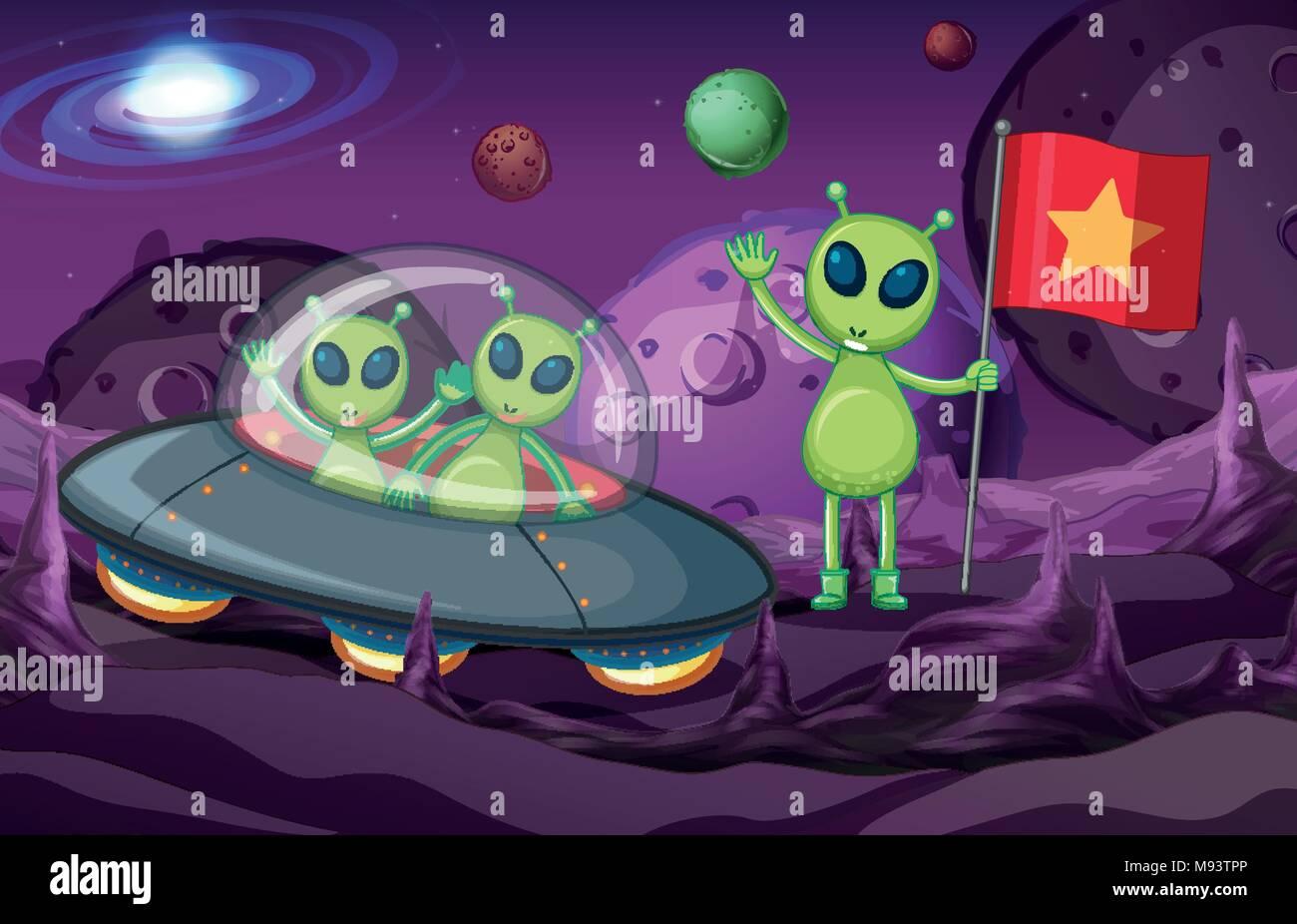 Aliens in UFO exploring space illustration - Stock Vector