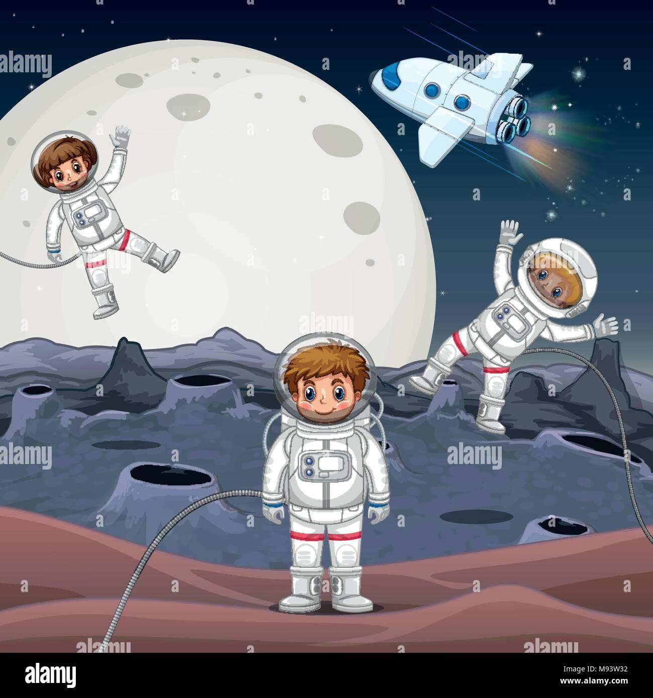 Three astronauts exploring space illustration - Stock Vector