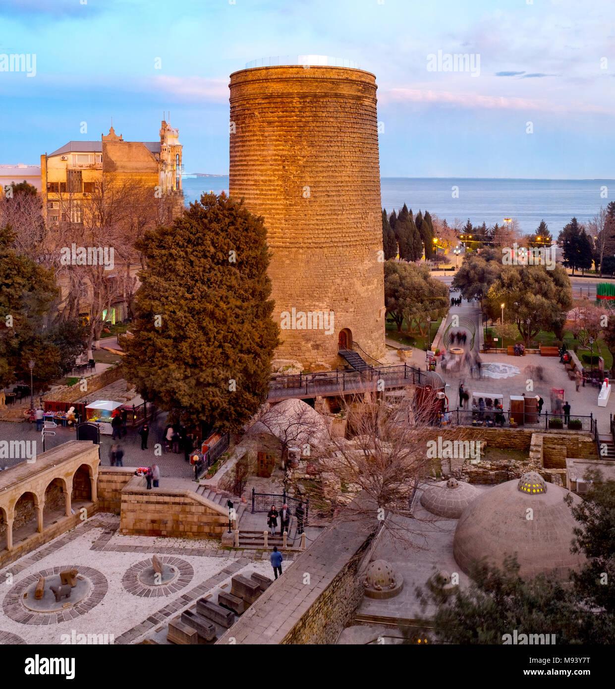 Panoramic view of Maiden Tower and Icheri Sheher, Baku, Azerbaijan - Stock Image