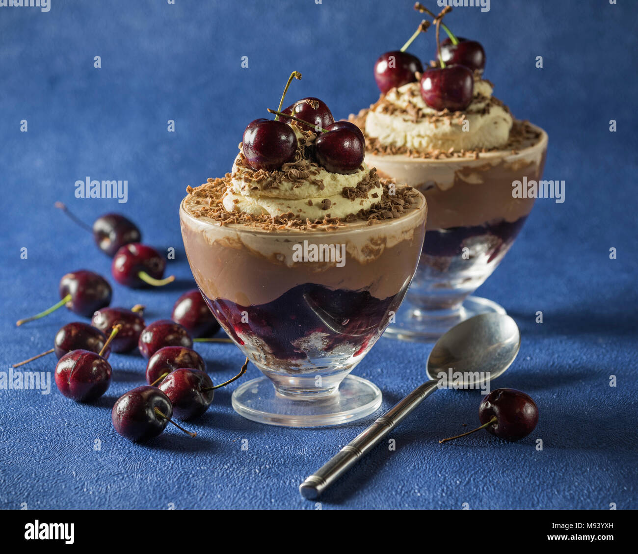 Black Forest trifle. Black cherry chocolate dessert. Food - Stock Image