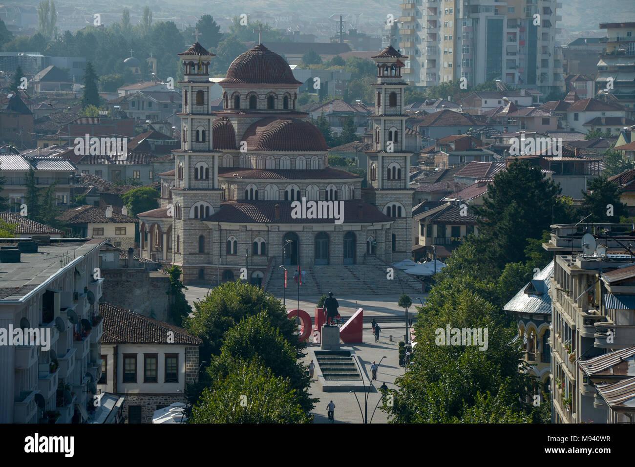 ALBANIA, Korça, orthodox cathedral, built 1992-95 / ALBANIEN, Korca, orthodoxe Kathedrale - Stock Image