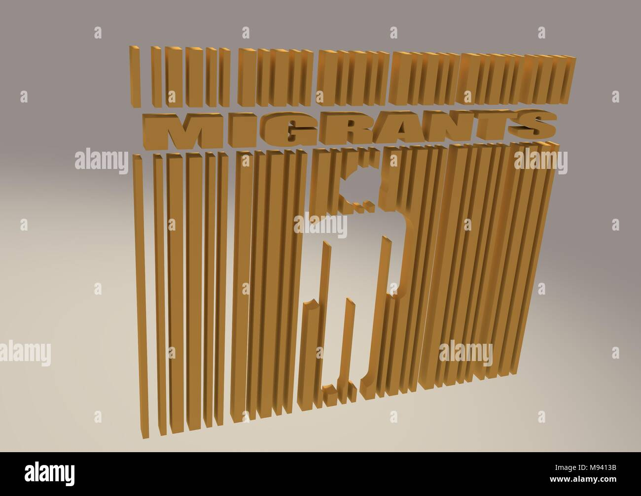 migrants word and human icon in bar code - Stock Image
