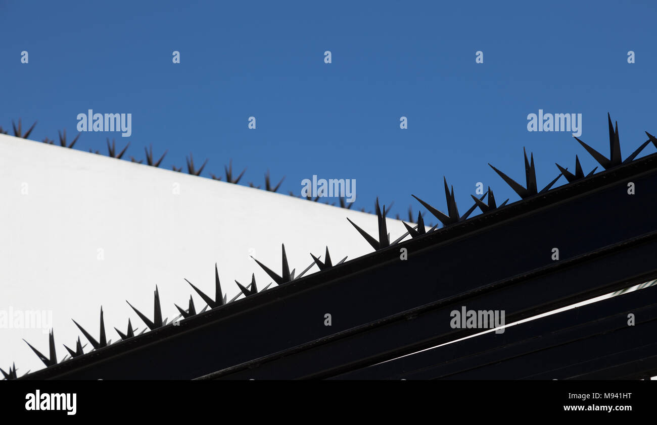 Anti climb spikes - Stock Image