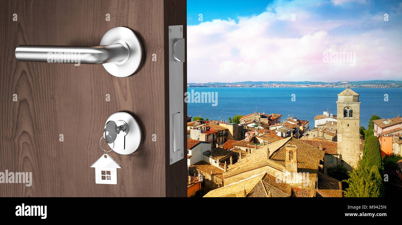 Composite image of digitally generated image of brown door with key - Stock Image