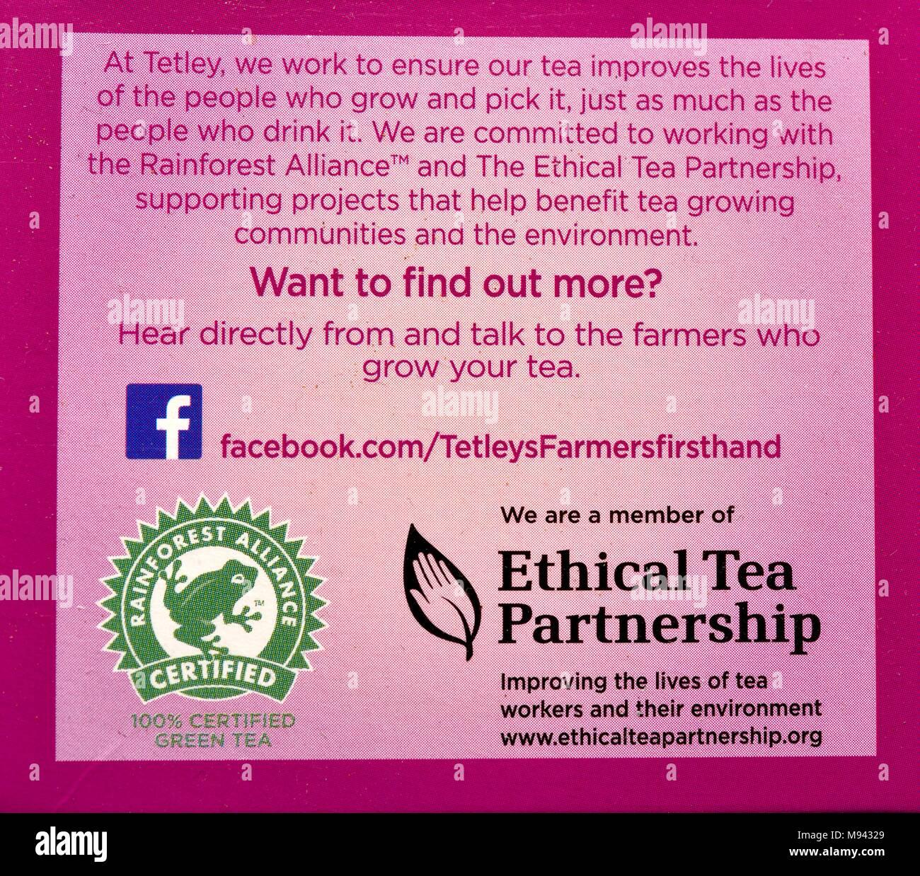Ethical tea partnership product labelling - Stock Image