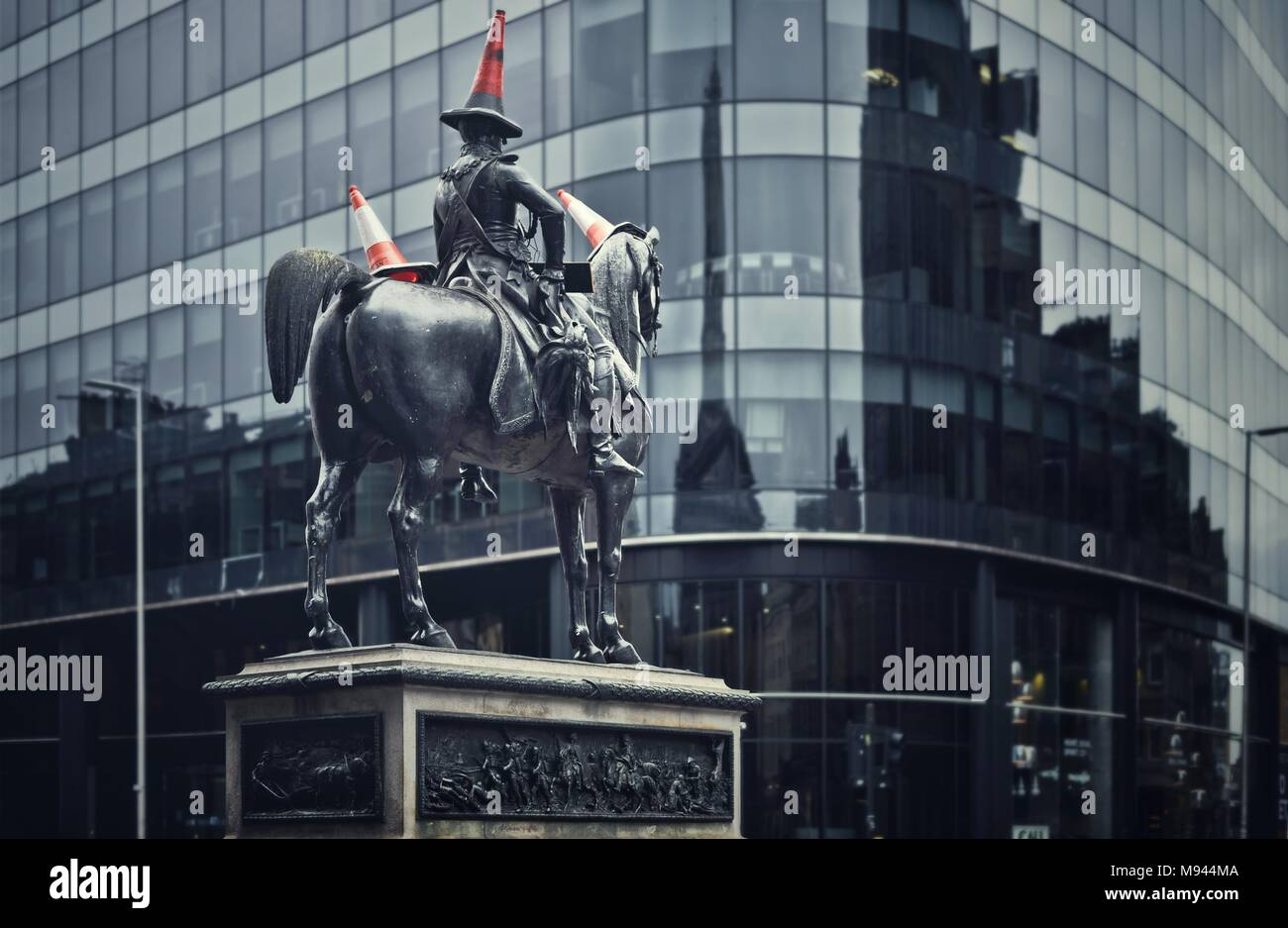 Equestrian statue of the Duke of Wellington, Glasgow - Stock Image