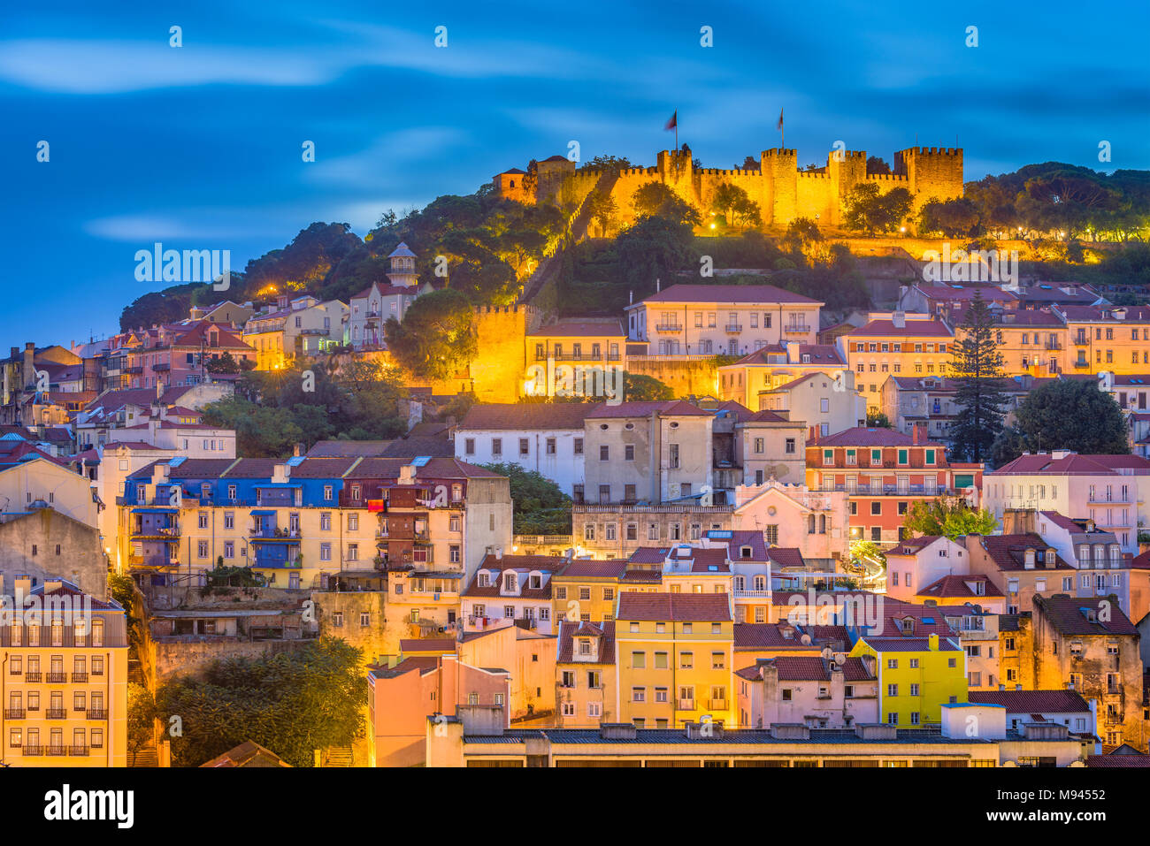 Lisbon, Portugal City Skyline with Sao Jorge Castle and Tagus River. - Stock Image