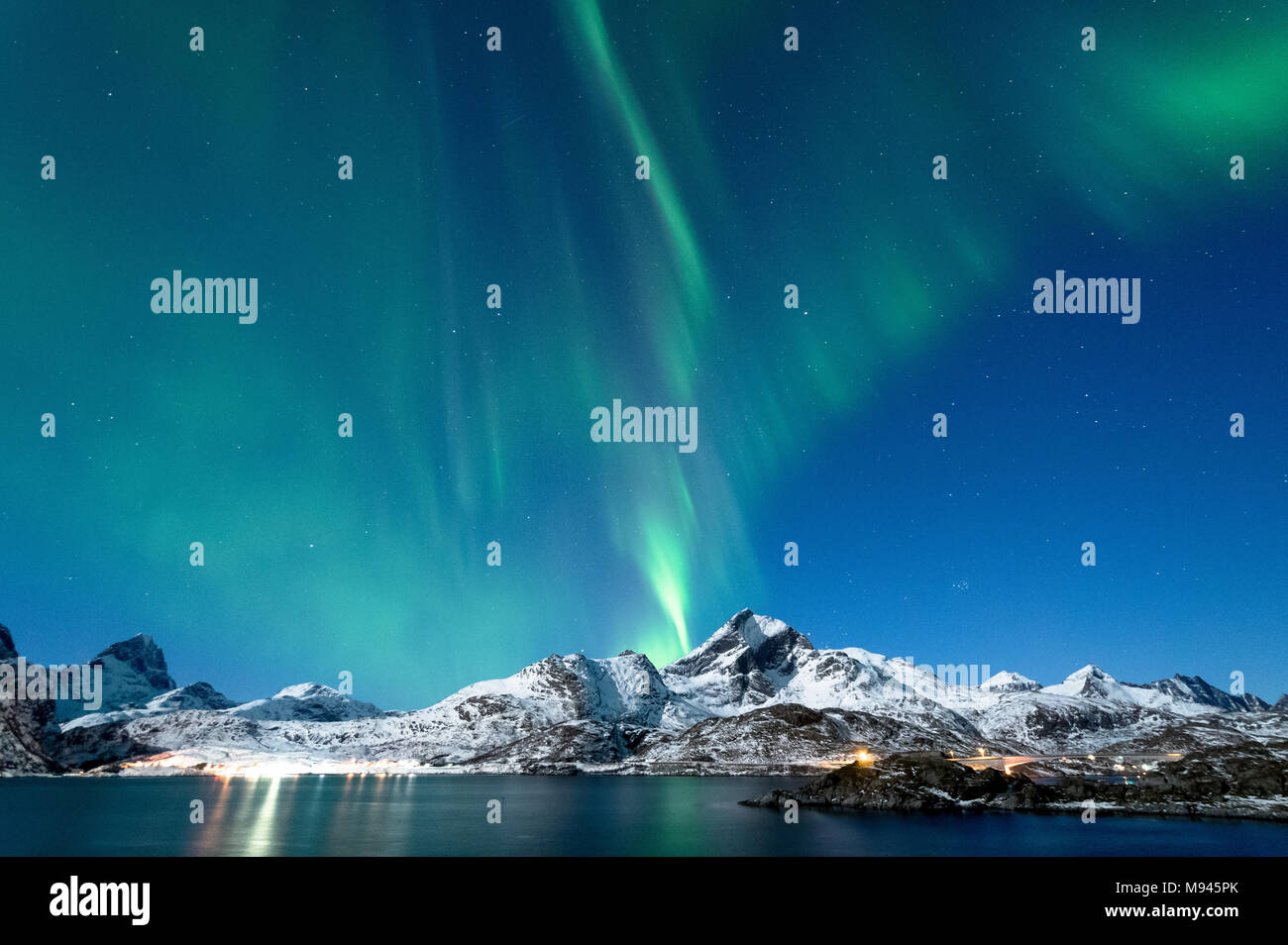 Northern Lights in Lofoten, Norway - Stock Image