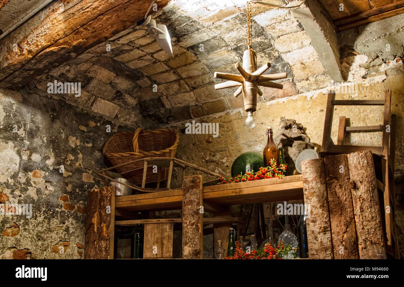 Typical winery of Monferrato, Piedmont, Italy. Here the wine is matured and then tasted in company. - Stock Image
