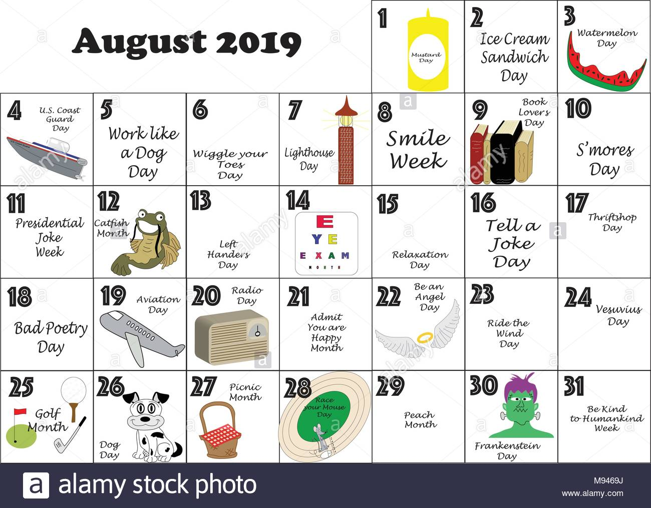 August 2019 Calendar With Holidays.August 2019 Monthly Calendar Illustrated And Annotated With Daily