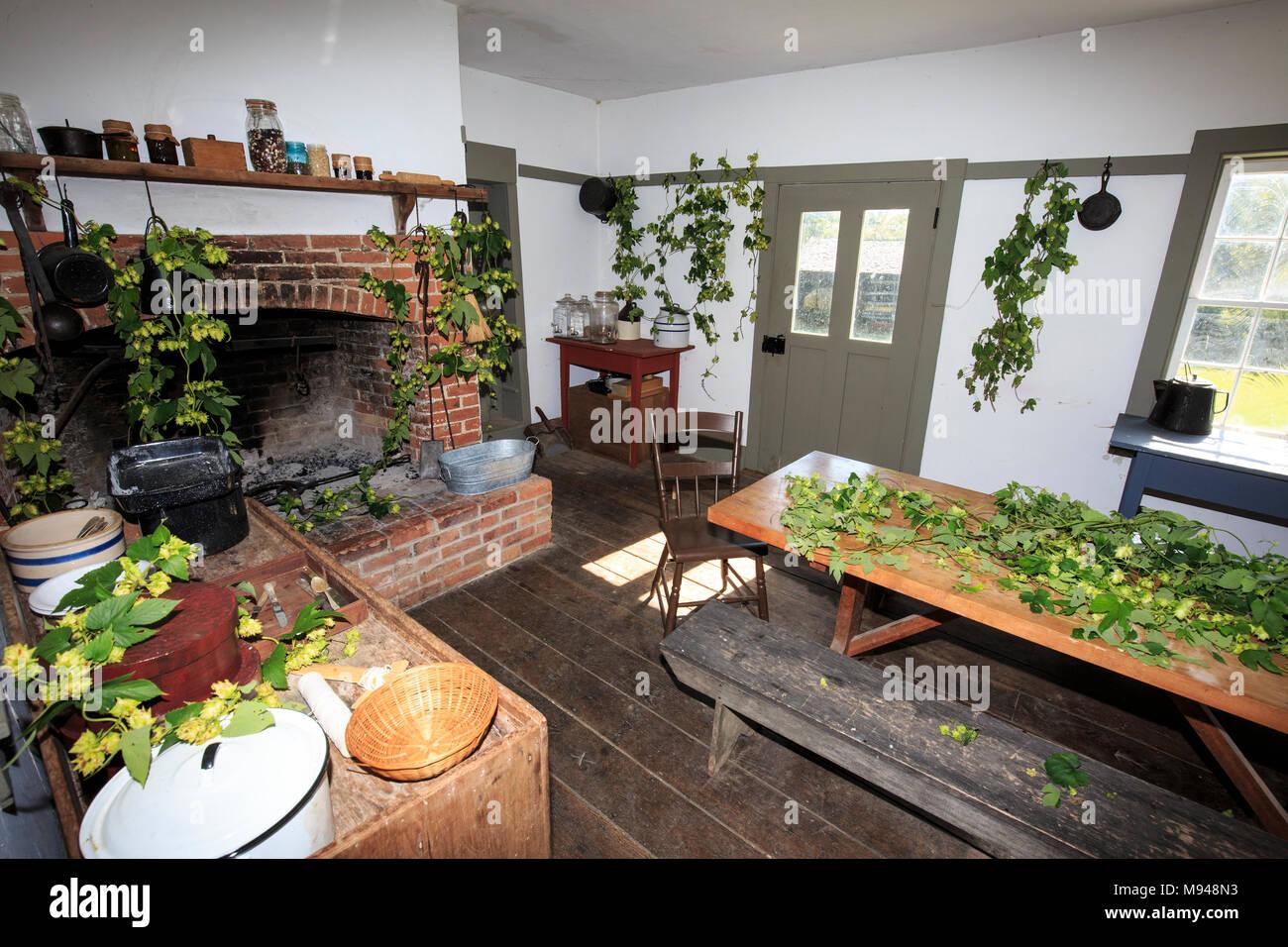 Summer kitchen at a nineteenth century restored farmhouse Stock ...