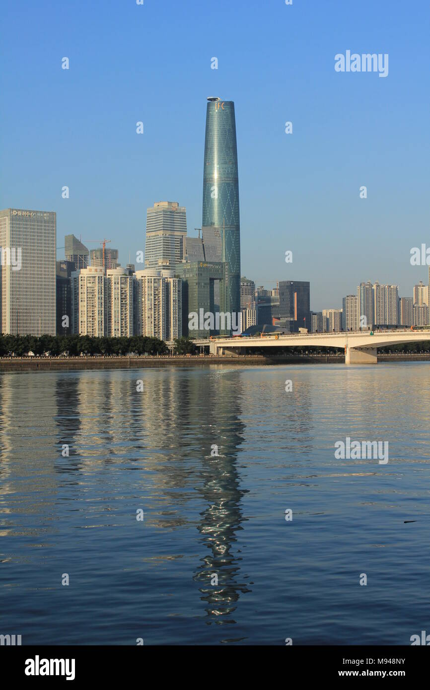 Photograph of the Guangzhou International Finance Center on the Pearl River in Guangzhou China - Stock Image