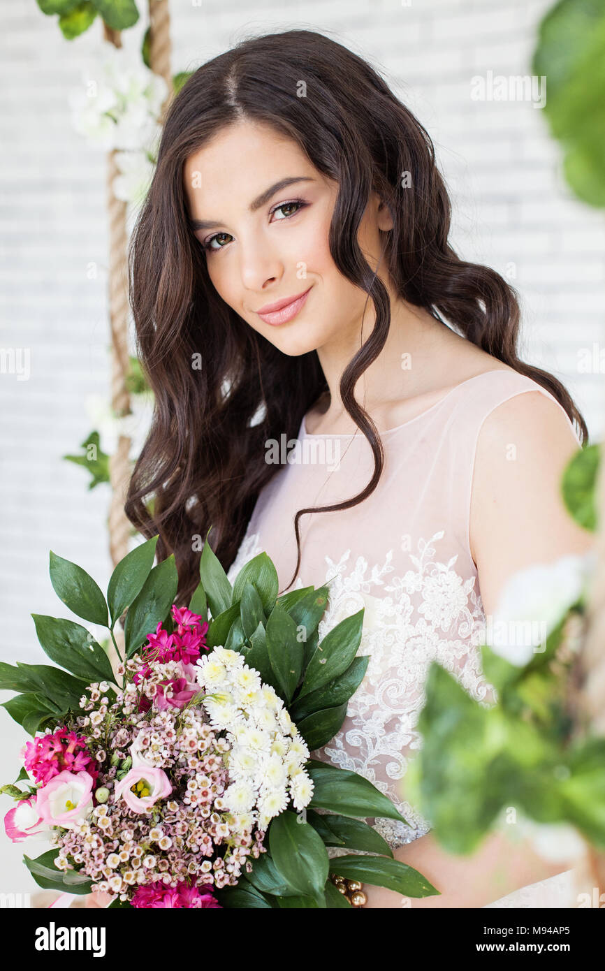Girl beautiful hair chrysanthemum stock photos girl beautiful hair beautiful woman with flowers curly hairstyle and makeup brunette model girl stock image izmirmasajfo