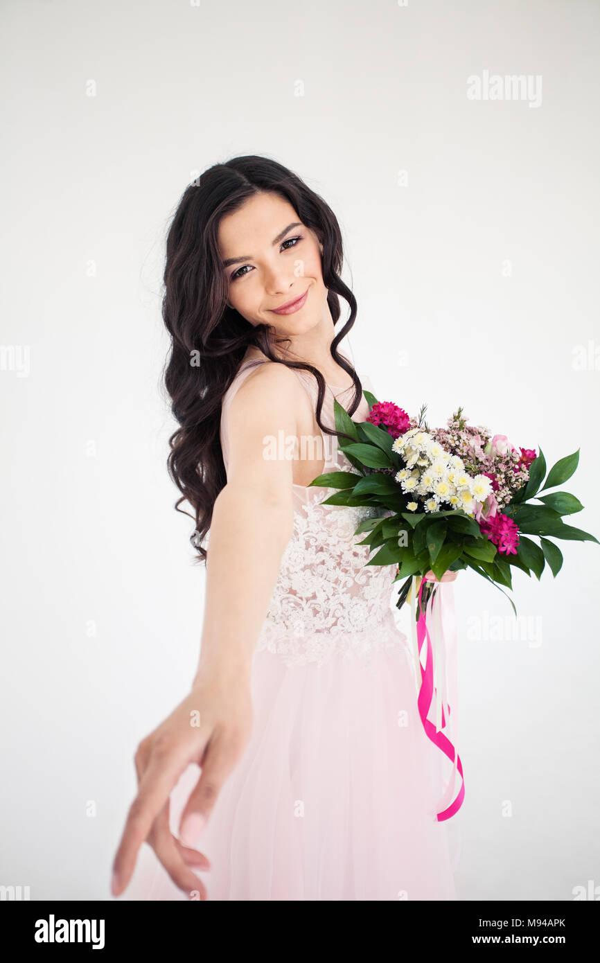 Beautiful Bride Woman With Colorful Flower Arrangement Flower
