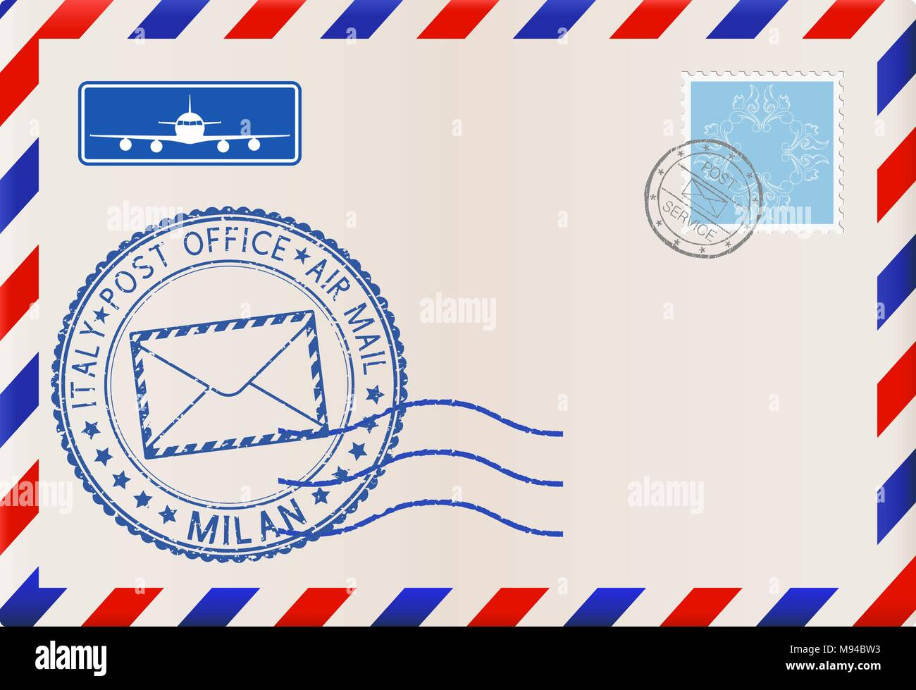 Envelope with MILAN stamp. International mail postage with postmark and stamps - Stock Vector