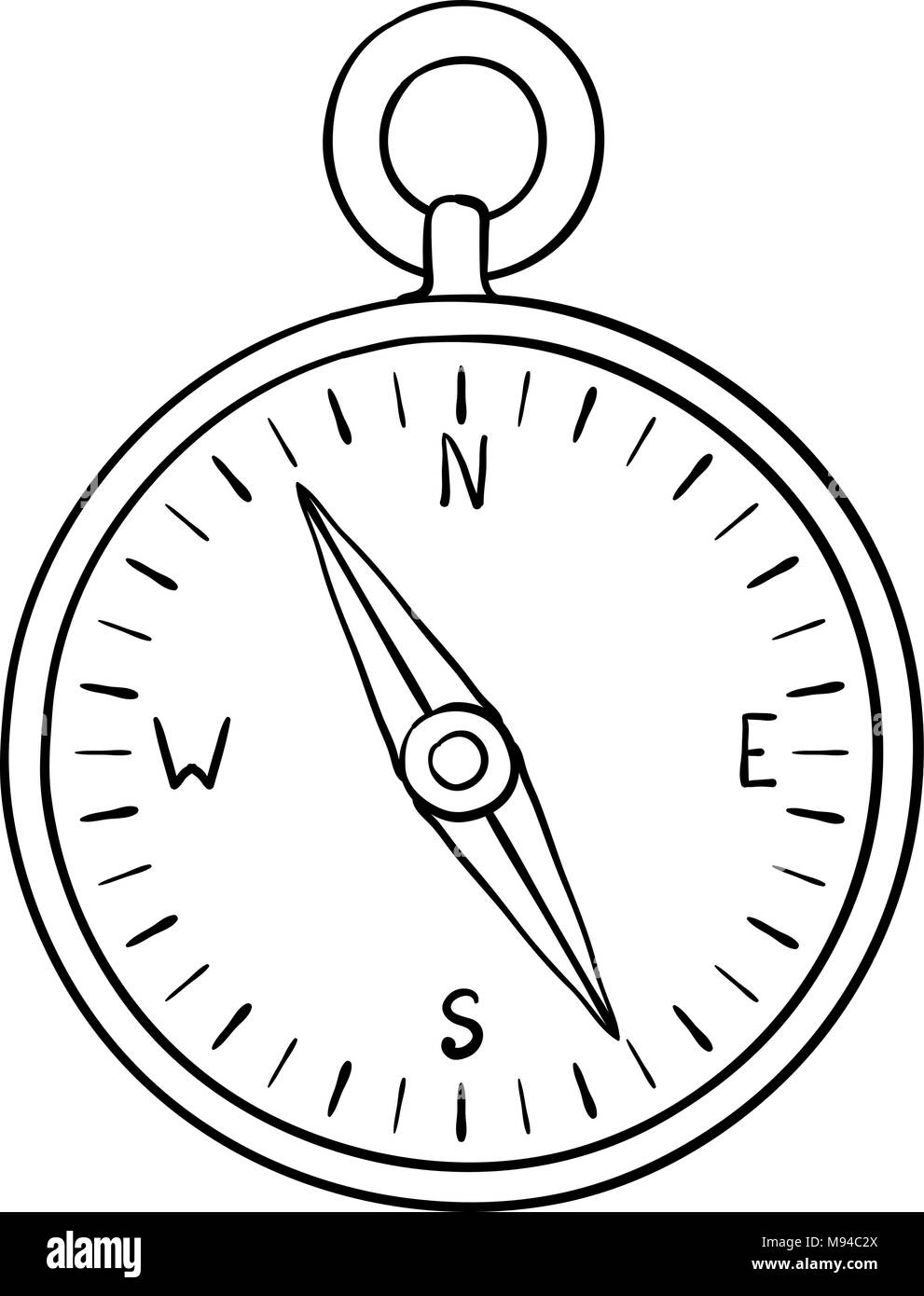 Compass. Doodle - Stock Image