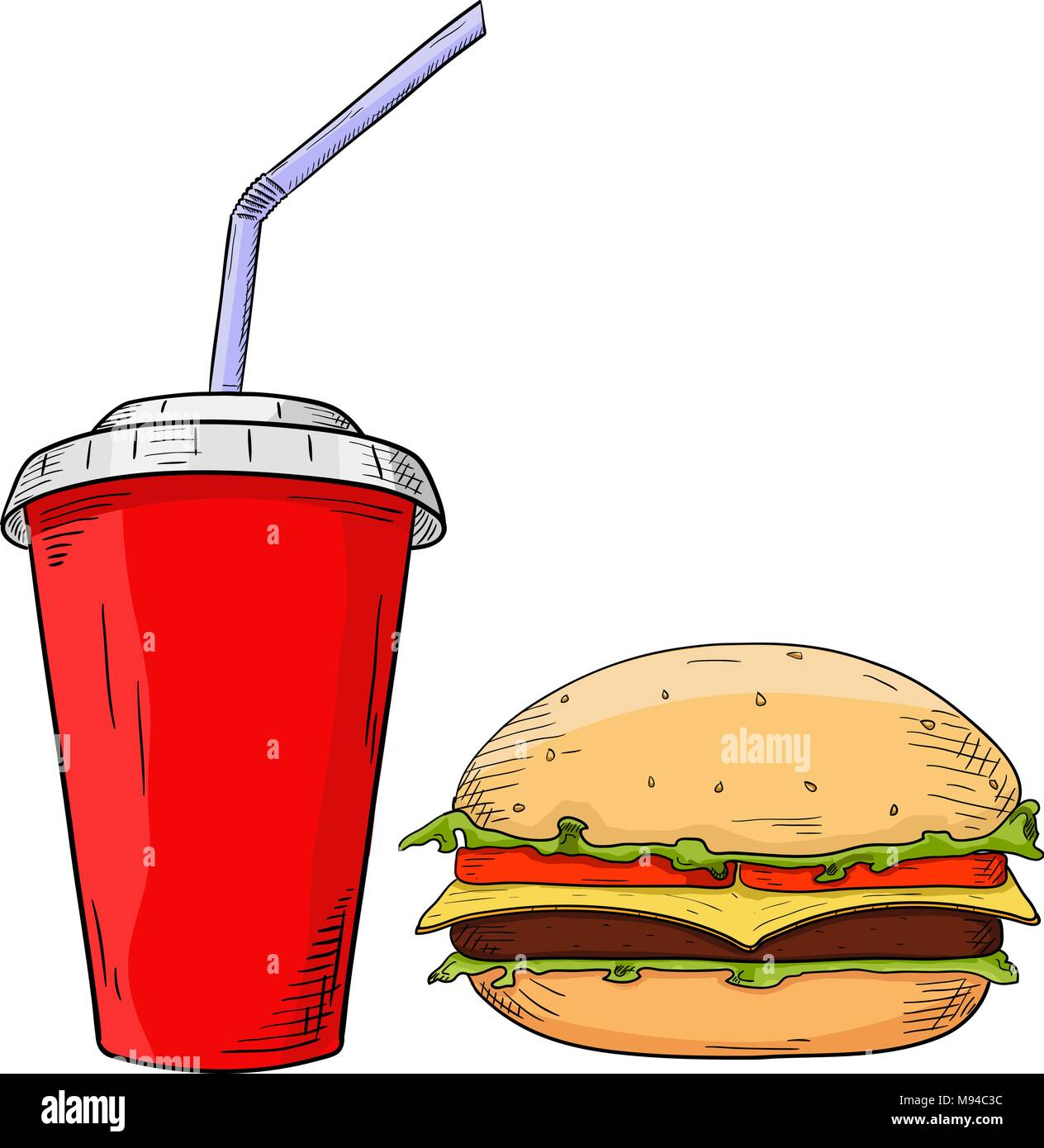 Fast food set. Cheeseburger and drink in paper cup. Sketch - Stock Vector