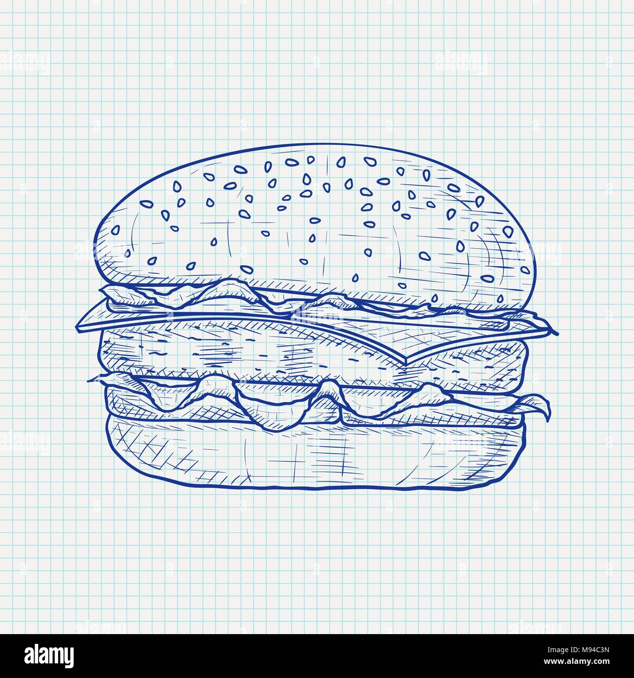 Hamburger. Hand drawn sketch on lined paper background Stock Vector