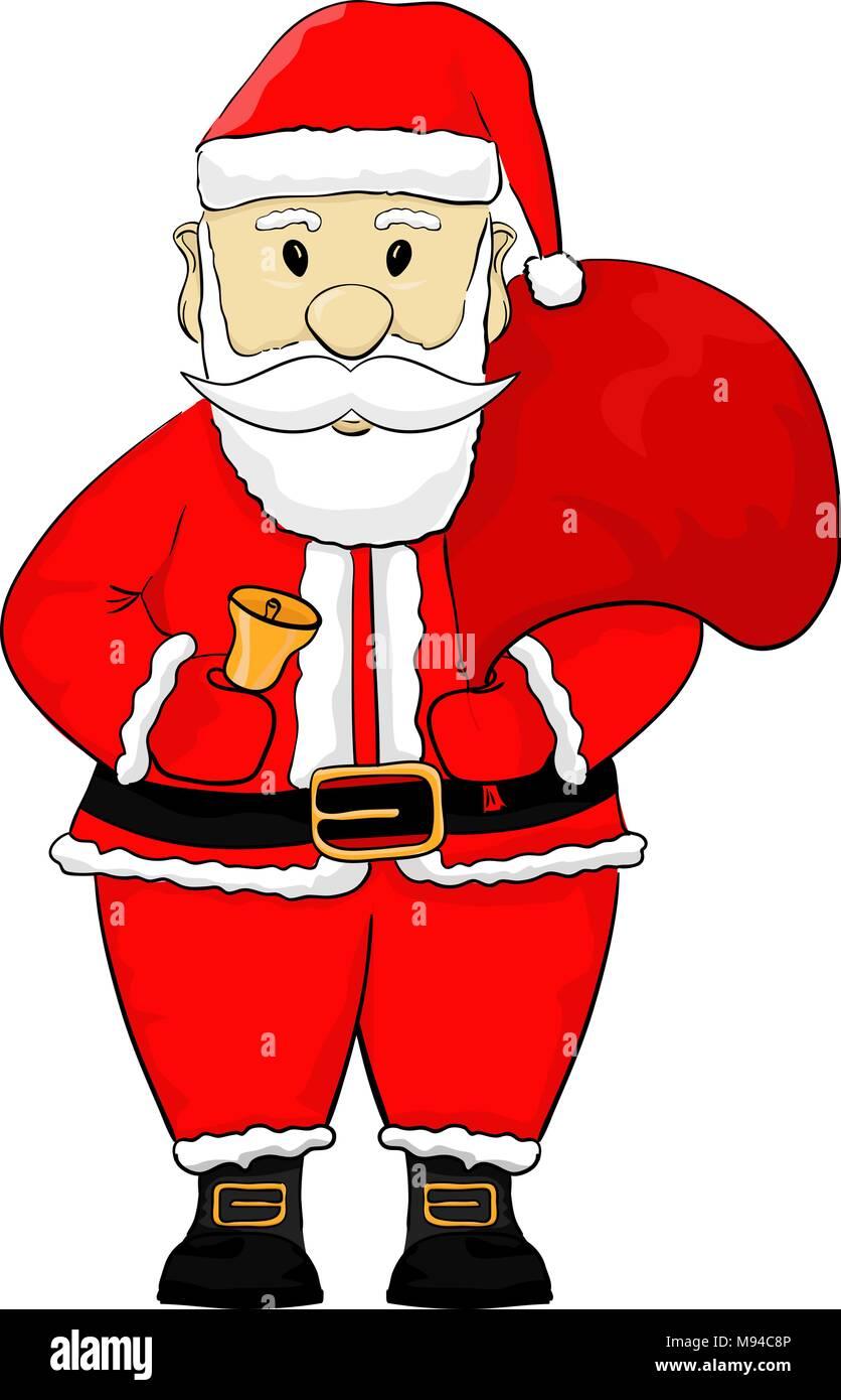 Santa Claus Cartoon Hand Drawing Stock Vector Art