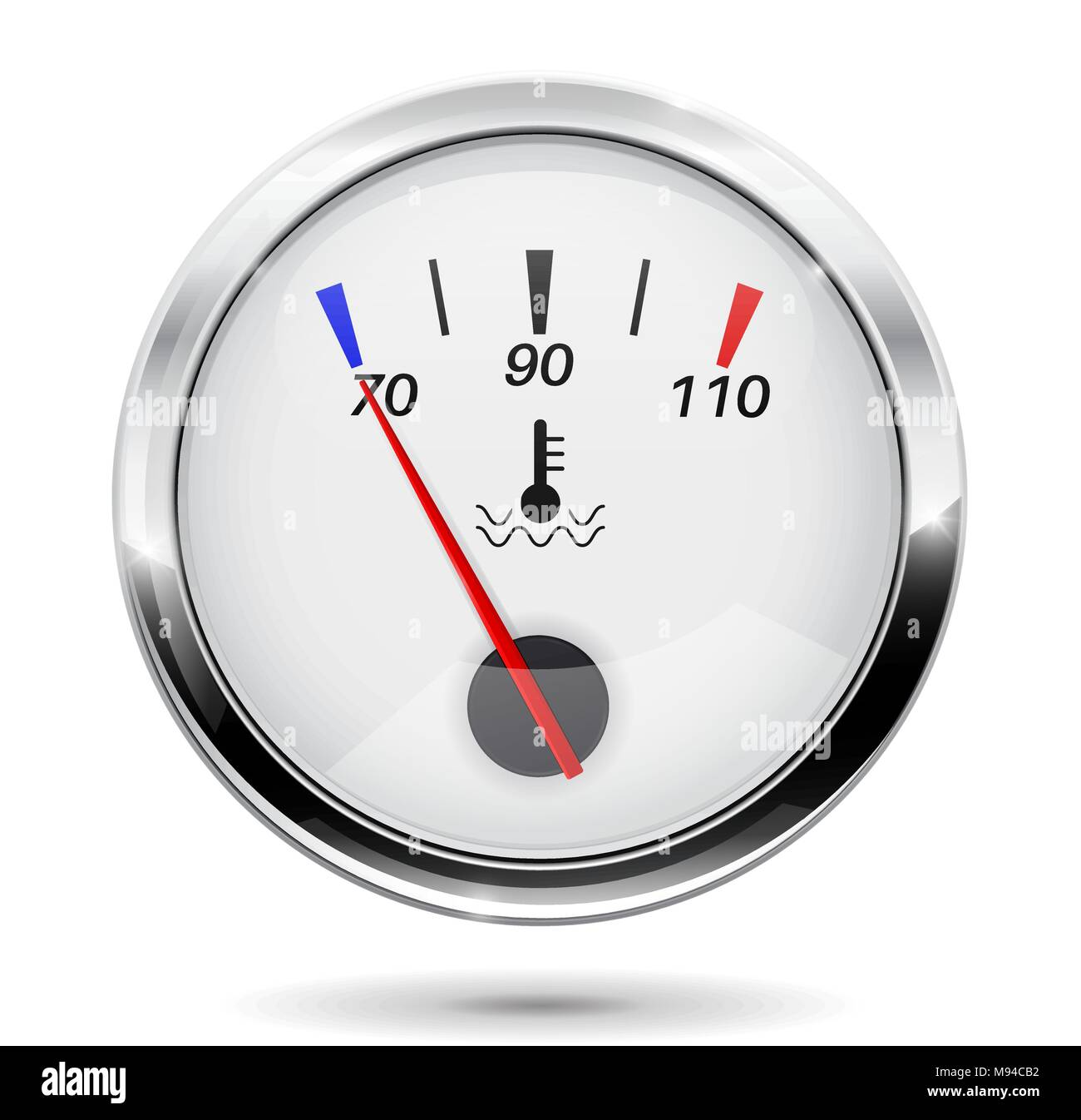 Temperature gauge. Round gauge with chrome frame - Stock Vector