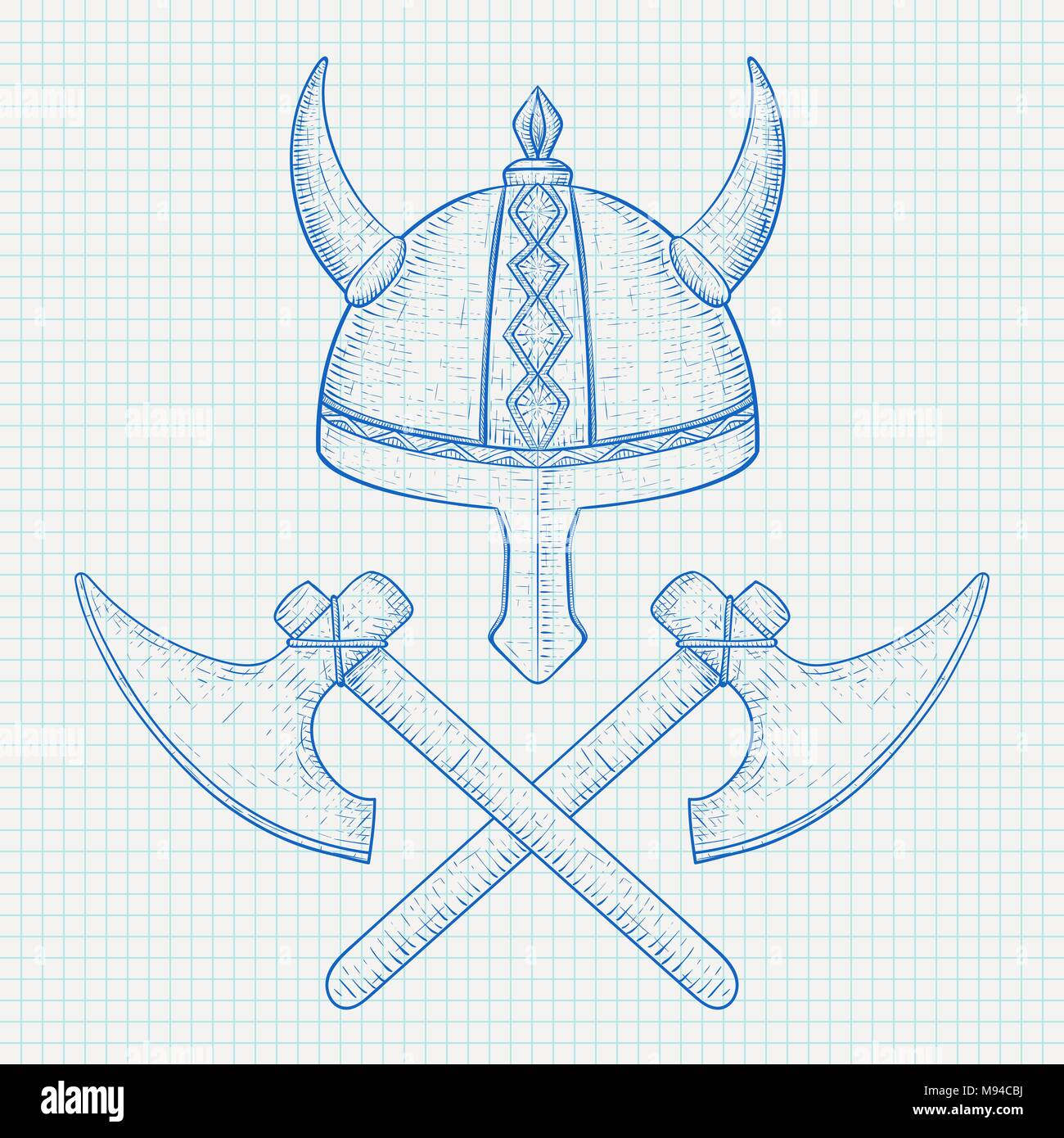 Viking axes and horned helmet. Hand drawn sketch - Stock Image