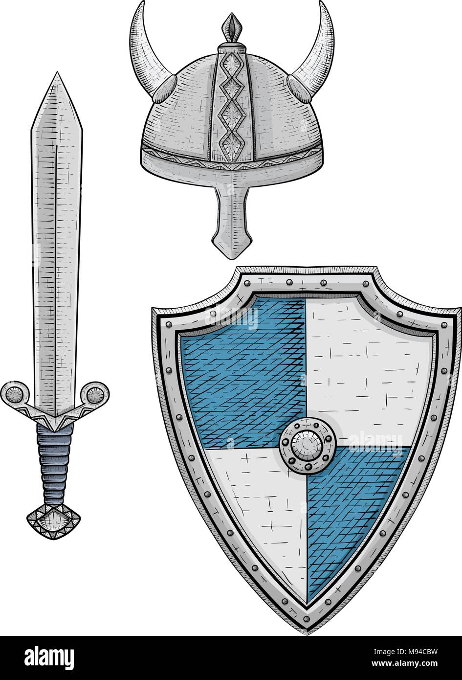 Medieval Sword Fight Blue Stock Photos & Medieval Sword Fight Blue ...