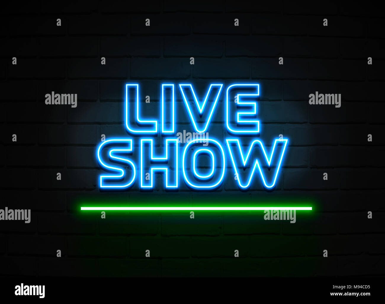 live show neon sign glowing neon sign on brickwall wall 3d